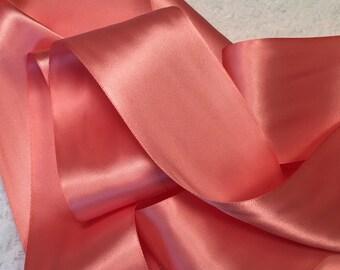 Coral Satin Ribbon/Light Coral Ribbon/Coral Wedding Belt/Light Coral Bridal Sash/Coral Flower Girl/Coral Wedding/Light Coral Satin Ribbon
