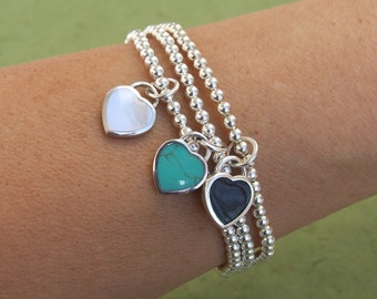 Sterling Silver Bracelet, Silver Charm Bracelet, Silver Heart Bracelet, Stretch Bracelet, Beads Bracelet, Ball Bracelet, Turquoise Bracelet