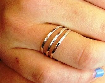 Sterling Silver Ring, Three Band Ring, Three Lines Ring, Silver Ring, Silver Band Ring, Silver Line Ring
