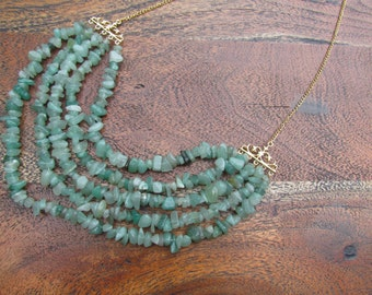 Jade multi layer Necklace, Gemstone Necklace made with real Jade stones.