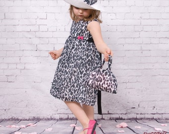 "baby girl dress in cotton animal print ""leopard"""