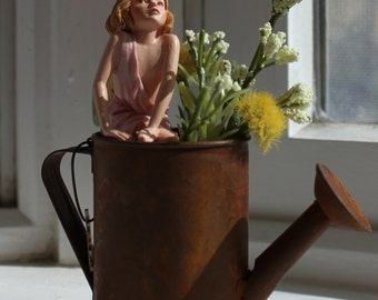 Fairy~ Jasmine Fairy with Rusted Watering Can by Olive ~ Fairy Garden, Fairy, Fae, Faery