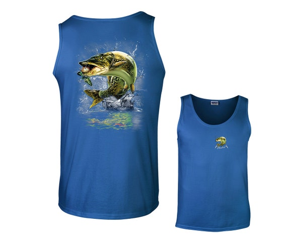 Jumping muskie fish muskellunge fishing tank top for Fish tank tops