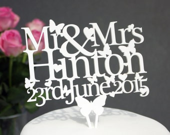 Mr & Mrs Wedding Cake topper - Personalised with Name and Date