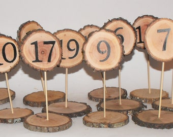 Table Numbers ~ Wood Slice Table Numbers ~ Woodland Weddings ~ Reunion table number ~ Party Table Number ~ Meetings