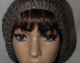 Brown Sparkle Lacy Slouch Knit Beanie