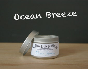 Ocean Breeze Soy Candle Tins With Clear Lid - 2oz, 4oz or 8oz