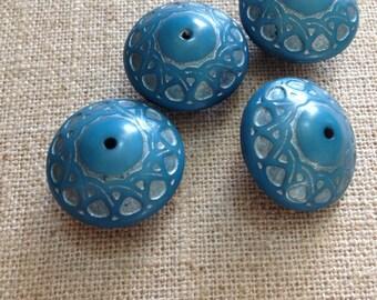 Destash 4 Vintage Lucite Carved Blue Silver Round Saucer Beads 23mm
