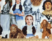 Wizard of Oz Fabric By the Yard, Half, Fat Quarter Lion Scarecrow Tin Man Dorothy Fabric 100% Cotton Quilting Apparel Fabric BTY t2/26