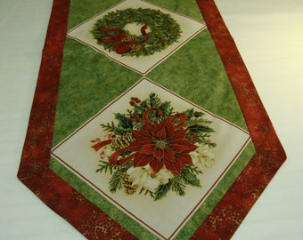 Christmas Theme Table Runner, Modern Table Runner, Quilted Table Runner