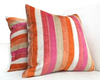 "Pink Orange Stripe Duralee Designer Chenille Pillow Cover, Fits 12x18 14x20 16x26 16"" 18"" 20"" 22"" 24"" Cushions"