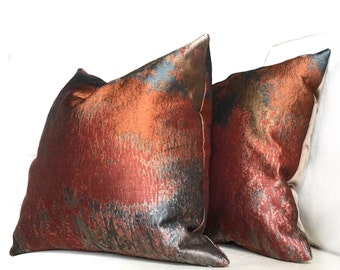 "Robert Allen Beacon Hill Orange Bronze Gray Textile Art Provocation Silk Pillow Cushion Zipper Cover, Made to fit Lumbar 16"" 18"" 20"" 22"" 24"""