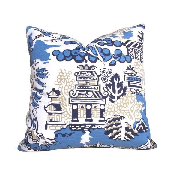 Thibaut Luzon Modern Chinoiserie Asian Theme Blue White Pillow