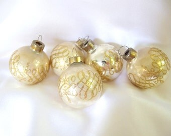 Vintage Christmas Ornaments, Small White with Gold Glitter Loops Holiday Ornaments