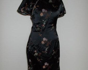 SALE 25% OFF Vintage dress 90s Black satin oriental chinese mandarin collar floral pattern size small