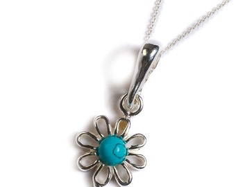 Henryka Turquoise & Silver Open Posy Necklace