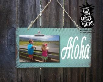 aloha, aloha sign, aloha decoration, aloha picture frame, beach house decor, honeymoon picture frame, beach wedding gift, hawaiia decor, 243