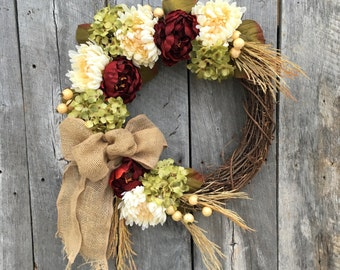 SALE on Autumn Wreath, Fall Hydrangea Wreath, Front Door Wreath, Fall Wreath for Door, Thanksgiving Wreath, Harvest Wreath