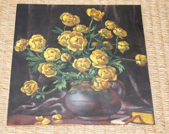 Vintage 1984 - Nellija DARKEVICA - 13x13 pastel on black paper - Art -Yellow flowers in a vase - Soviet - eastern european - Latvian Artist
