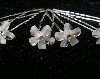 Beautiful Bridal Crystal Flower Hair Pins (set of 12)