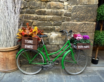 Photograghy  Print 'Green Bicycle of Florence' Fine art photography print - Bicycle wall art Travel Photography prints