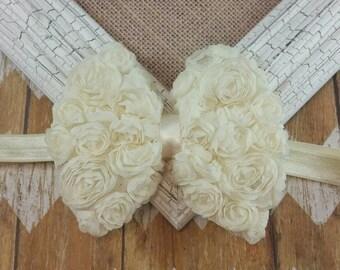 Chiffon Flower Bow Headband, Large flower bow headband, Ivory Bow headband, Ivory Flower Bow Headband, Ivory Headband