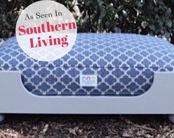 Wooden Dog Bed || As seen in Southern Living Magazine || Designer Custom Wood Bed || Large || Hand Made in NC  by Three Spoiled Dogs