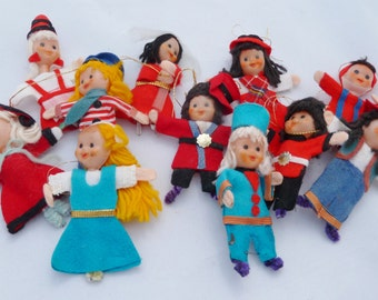 Vintage christmas  mini  doll ornaments