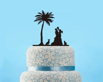 Wedding Cake Topper with Dog-Silhouette Cake Topper-Dancing Cake Topper-Bride and Groom Dogs Cake Topper-Rustic Palm Tree Cake Topper