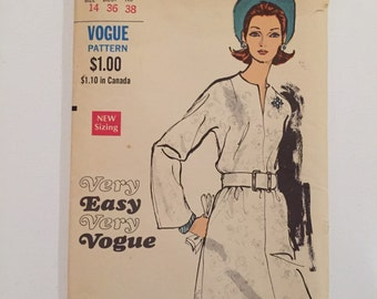 1960's Vintage Vogue Sewing Pattern 7558 Misses' & Woman's One Piece Dress with Kimono Sleeves Size 14 Very Easy Very Vogue Factory Folded.