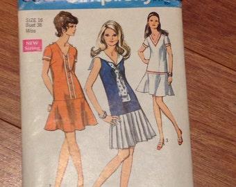 Tennis Dress Pattern 1969 size 16