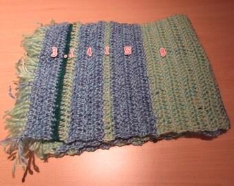 Blue And Green Stripey Pi Scarf - Crochet Scarf - Maths Geek