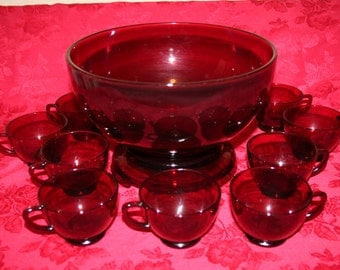 Ruby Red Punch Bowl Set