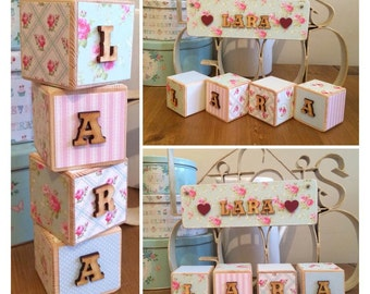 New baby gift set blocks and plaque - boy or girl