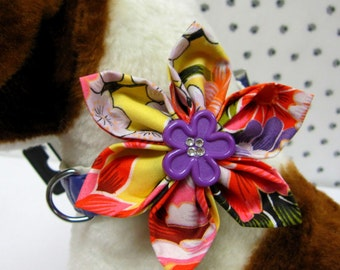 Tahitian Sunrise Dog Collar Flower Bow, Collar Bow, Dog Flower