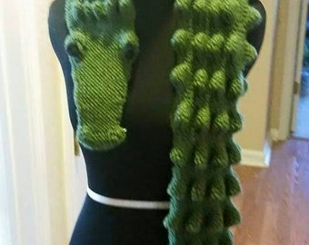 Handknit(Your Color Choice)Alligator Scarf