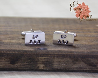 Personalized Custom Design Sterling Silver Cufflinks, Rectangle Cuff Links, Hand Stamped, Mens Jewelry, Custom Shirt Fasteners