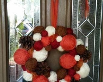 Halloween Wreath. Yarn Ball Wreath. Handmade Yarn Ball Wreath.  Thanksgiving Wreath.  Fall Wreath.  Autumn Wreath.  Christmas Wreath