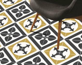 Tile Decals - Tiles for Kitchen/Bathroom Back splash - Floor decals - Encaustic Orpheus  Vinyl Tile Sticker Pack in Black & Ivory
