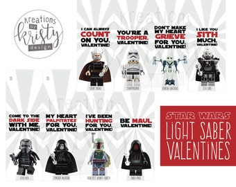 Valentine's Day Star Wars Lego Glow Stick Light Saber Valentines, The Complete Collection, Digital File, Instant Download