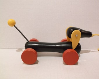 Brio Daschund Dog Wood Pull Toy, Sweden