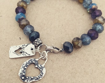 Blue-Beach Czech Glass Beads Cut-out Hearts Bracelet