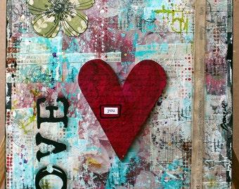 """Mixed Media Wood Panel, """"Love"""" Mixed Media Art, Collage Art, Mixed Media, Wood Panel Art, Custom Art, Handmade Mixed Media Art"""