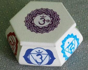 Chakra symbol Trinket / Decorative wooden box