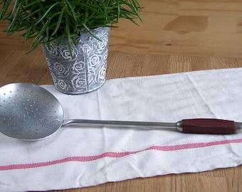 Aluminum skimmer, red bakelite handle skimming ladle, red skimmer  | Made in France in 1940
