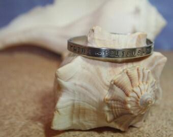 "Think Believe Dream Dare Cuff Bracelet aluminum engraved 1/4"" x 6"" Personalized"