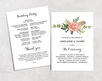 Floral Wedding Program Template, Printable Wedding Programs, Blush Pink Program, Instant DOWNLOAD - EDITABLE Text, 5x7, Blush Peony, VW12