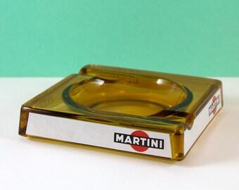 Martini Amber Glass Advertising Ashtray
