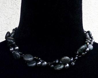 Hypersthene, Hematite, Obsidian and Swarovski Crystal Necklace