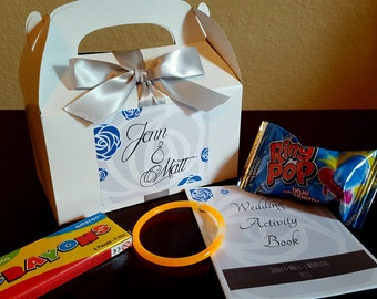 Kid's Wedding Reception Favor Box, Activity Book and Treats included